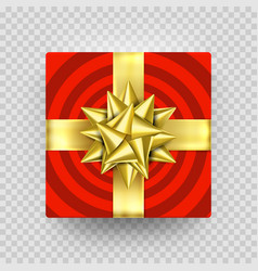 christmas gift box present red golden ribbon bow vector image