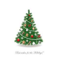 christmas tree decorated with different toys vector image