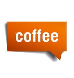 coffee orange speech bubble isolated on white vector image