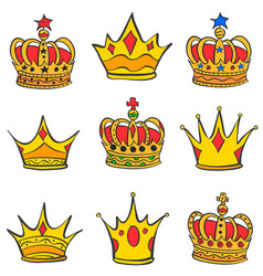 Collection stock of gold crown style vector