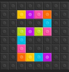 Colorful bricj block number two flat design vector