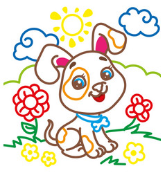 Coloring book of cute doggy vector