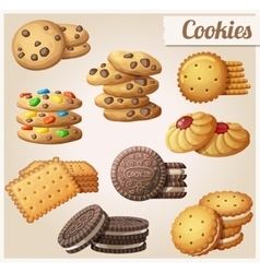 Cookies set of cartoon food icons vector