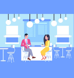 couple man woman coworkers sitting at cafe table vector image