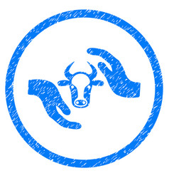 cow protection hands rounded grainy icon vector image