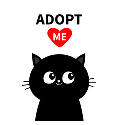 Cute black cat face silhouette adopt me red heart vector