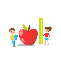 cute boy and girl measuring red giant apple vector image