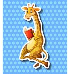 Cute giraffe reading book vector image