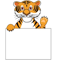 cute tiger with blank sign vector image
