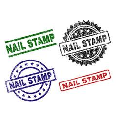 Damaged textured nail stamp seals vector
