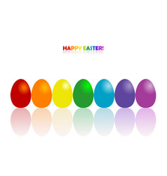 easter greeting card with rainbow colors eggs vector image