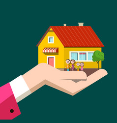 family house in human hand flat design icon vector image