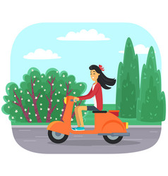 Female character is riding scooter on modern city vector