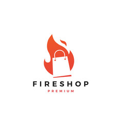 fire shop sale logo flame icon design inspirations vector image
