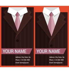 Flat business card template with brown jacket vector