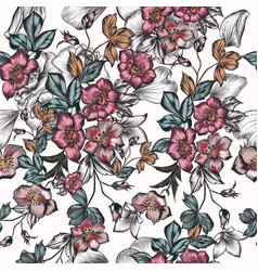 floral seamless pattern with flowers vintage style vector image