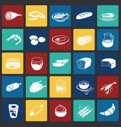 food set on color squares background vector image