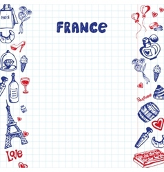 France Symbols Pen Drawn Doodles Collection vector image