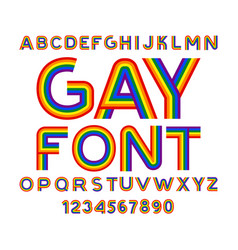 gay font rainbow letters lgbt abc for symbol of vector image