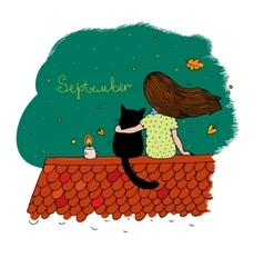 Girl and a cat on the roof vector image
