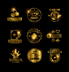 Golden gambling casino poker royal tournament vector