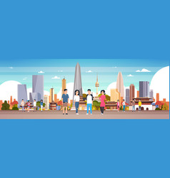 Group of korean people over seoul city background vector