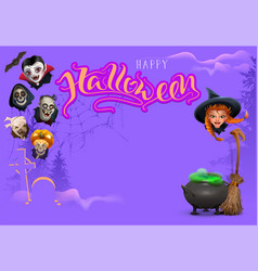 happy halloween template frame text greeting card vector image