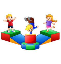 happy kids playing in the playground vector image