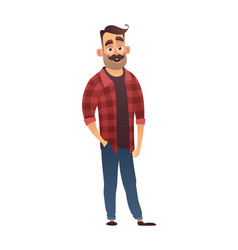 happy man hipster in cartoon style vector image
