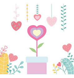 Happy valentines day potted flower shaped heart vector