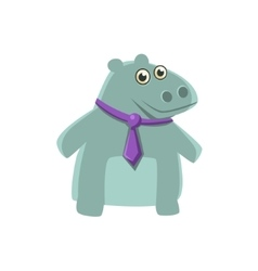 Hippo Wearing Neck Tie vector image