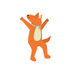honey cheerful orange dog is having fun and having vector image