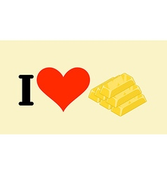 I love gold Heart and bullion Logo for gold rush vector