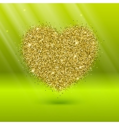 Icon of Heart with gold sparkles and glitter vector image