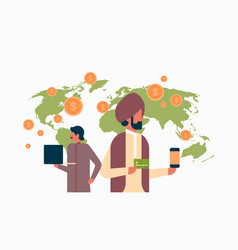 Indian business people e-payment money transaction vector
