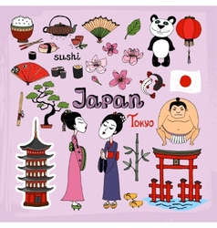 Japan landmarks and cultural icons set vector