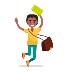 jumping indian boy student with book vector image