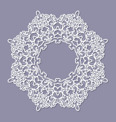 lacy doily frame filligree paper cut out template vector image
