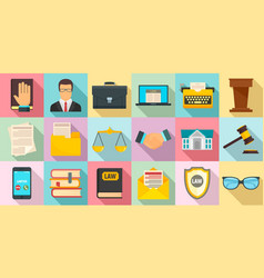 lawyer icons set flat style vector image