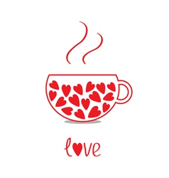 Love teacup with hearts Love card vector