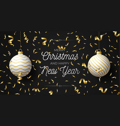 luxury christmas and new year horizontal greeting vector image