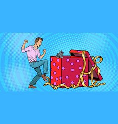 Man and dog puppy as a gift holiday box funny vector