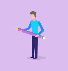 man holding big pencil with eraser rubber on top vector image