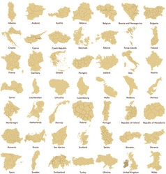 Maps of European Countries detailed vector image