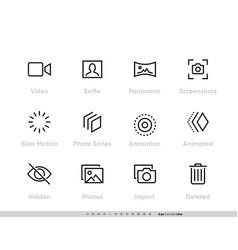 Media files icon set camera vector