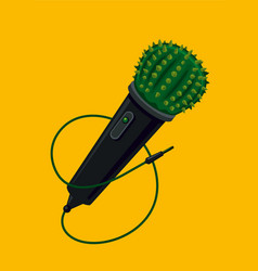 microphone with cactus life music party live vector image
