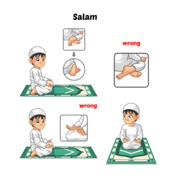 Muslim Prayer Position Guide Step by Step vector