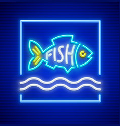 Neon fish silhouette vector