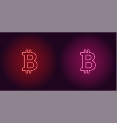 neon icon of red and pink bitcoin vector image