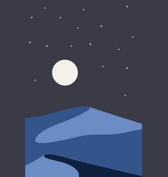 Night retro desert dunes vector